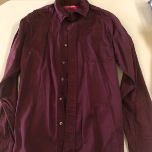 Maroon men's button up. Maroon color.
